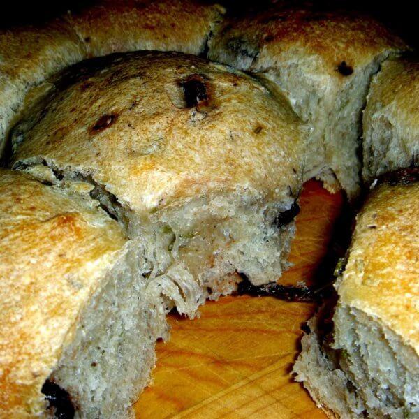 Rosemary olive dinner rolls.