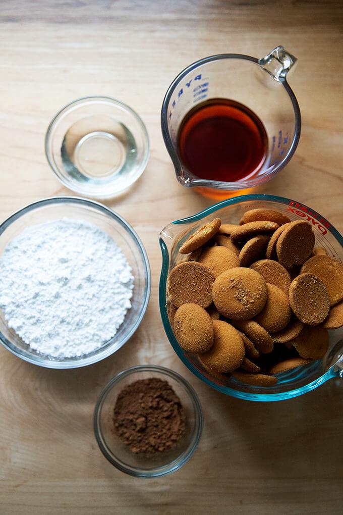 Ingredients for rum balls.