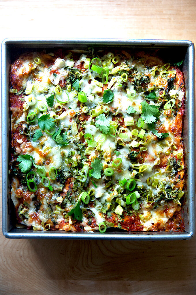 Just baked vegetarian tortilla casserole.