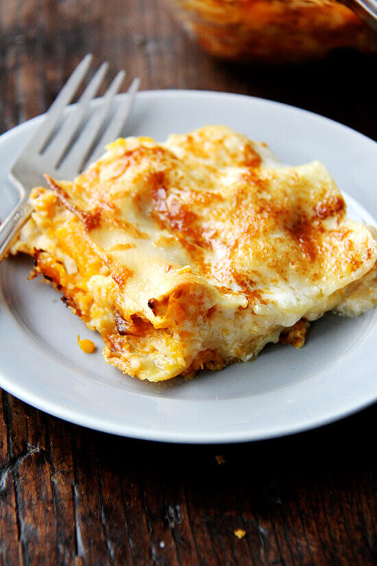 A slice of butternut squash lasagna.