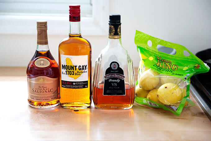 Ingredients to make Philadelphia Fish House Punch.