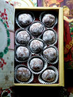 A gift box filled with rum balls.