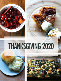 A montage of Thanksgiving dinner dishes.