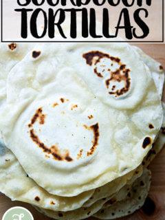 A stack of sourdough flour tortillas.