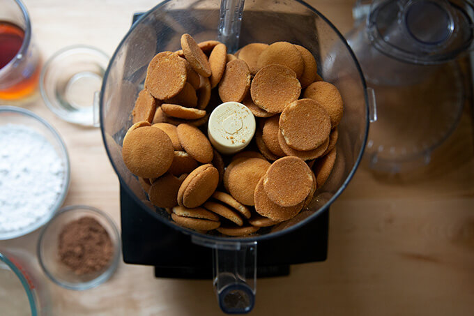 Vanilla wafers for rum balls in a food processor.