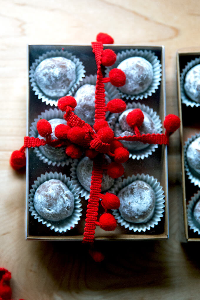 Wrapped rum balls.