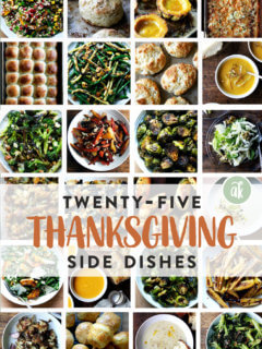 A montage of Thanksgiving side dishes.