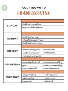 A printable Thanksgiving timeline.