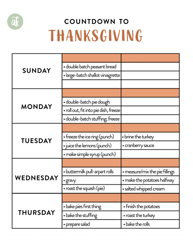 A downloadable and printable Countdown to Thanksgiving timeline