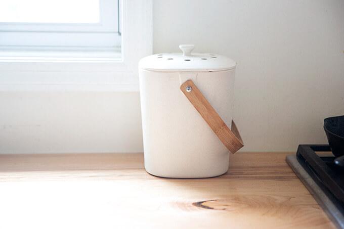 A compost bin.