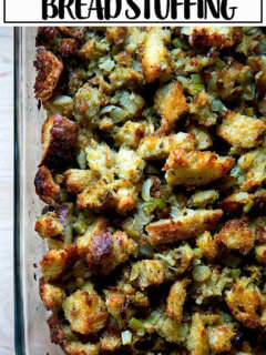 Classic bread stuffing in a baking dish.