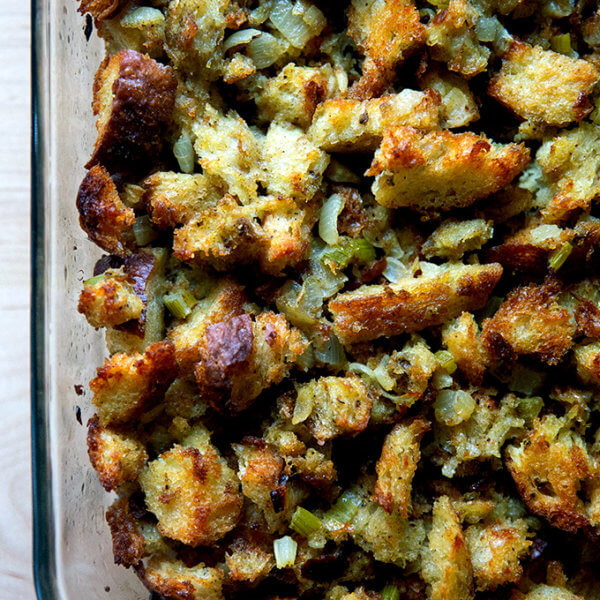 Classic bread stuffing in a 9x13-inch baking dish.