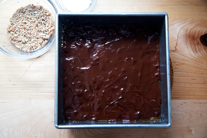 Chocolate covered toffee in a 9-inch pan.