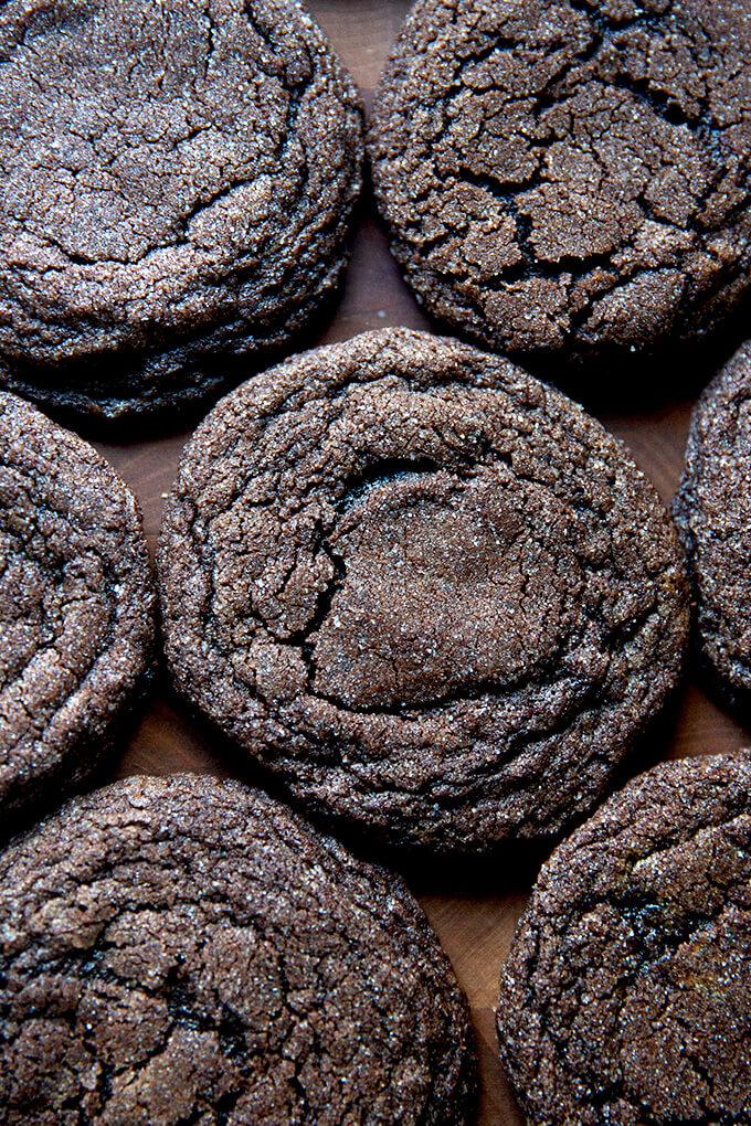 Baked chocolate sugar cookies.
