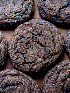 Baked, chocolate sugar cookies.