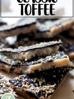 A pile of classic toffee shards.
