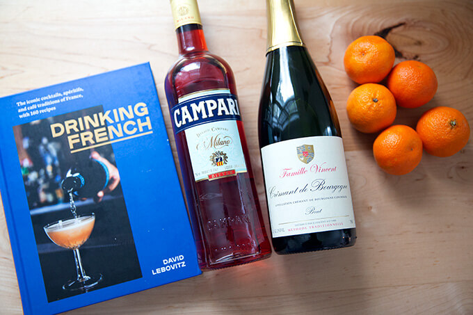 Ingredients to make Tangerine spritzes from David Lebovitz's Drinking French.