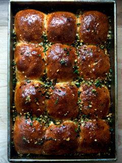 Garlicky brioche pull-apart rolls.
