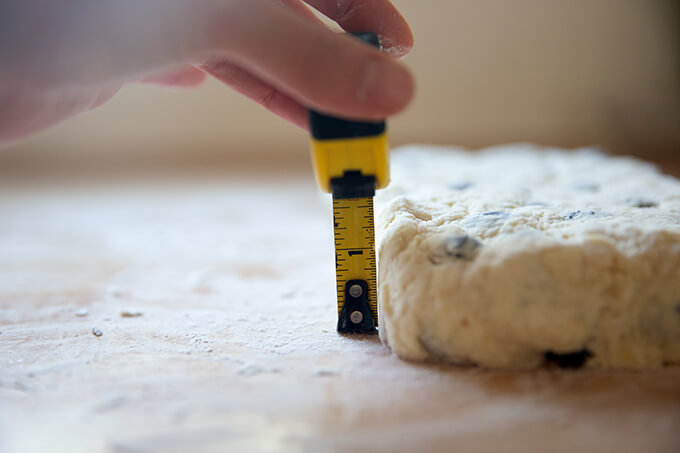 Scone dough 1.5 inches thick.