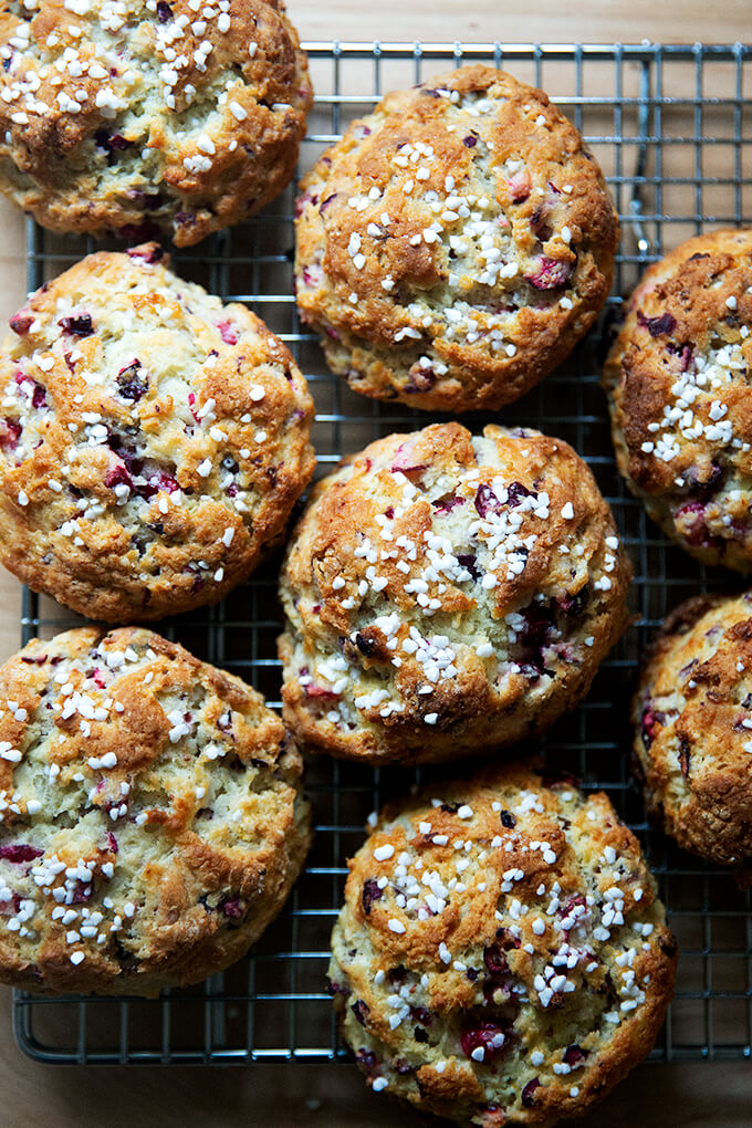 Just-baked cranberry scones on a cooling rack.