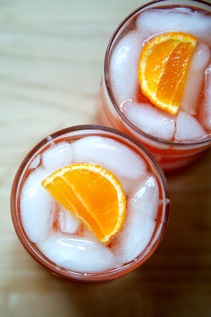 Two glasses of a Tangerine spritz, overhead view.