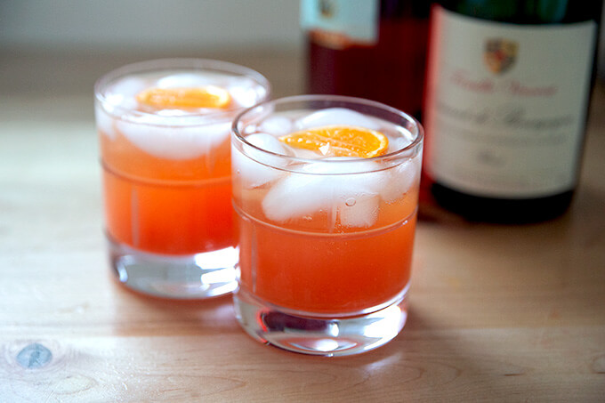 Two glasses of a Tangerine spritz.