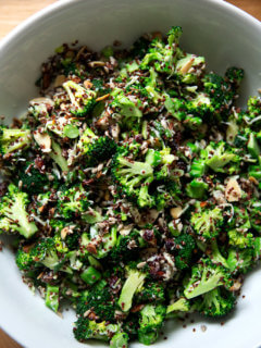 Broccoli crunch salad in a large serving bowl.
