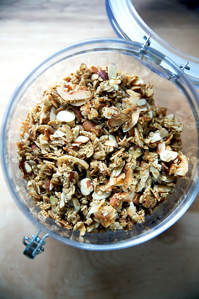 A bowl of coconut oil granola.