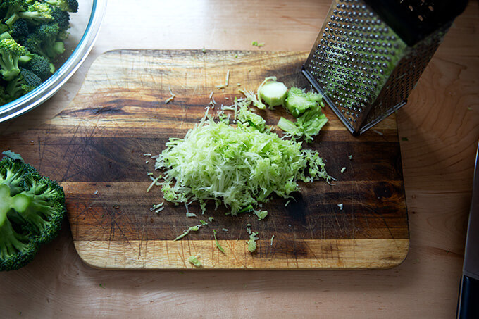 Grated broccoli stem.