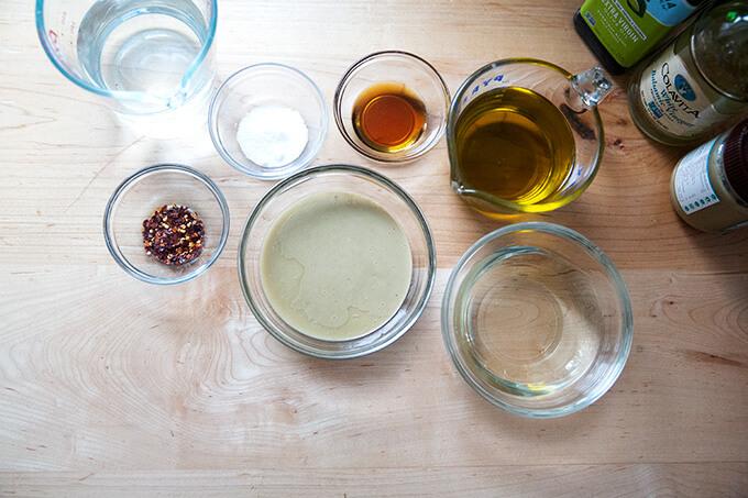 Ingredients measured for tahini dressing.