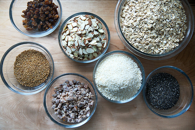 Ingredients to make homemade muesli.