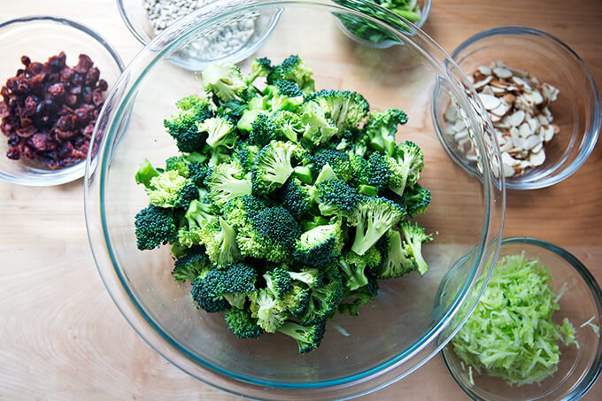 Prepped ingredients for broccoli salad.