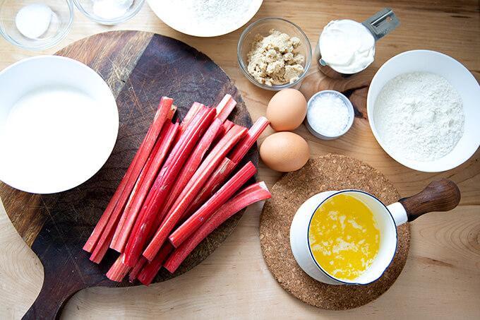The ingredients to make rhubarb buckle.