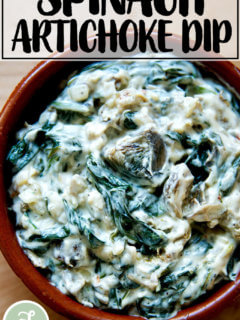 A small dish filled with spinach-artichoke dip.