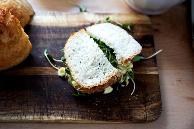 Peasant bread egg salad sandwich.