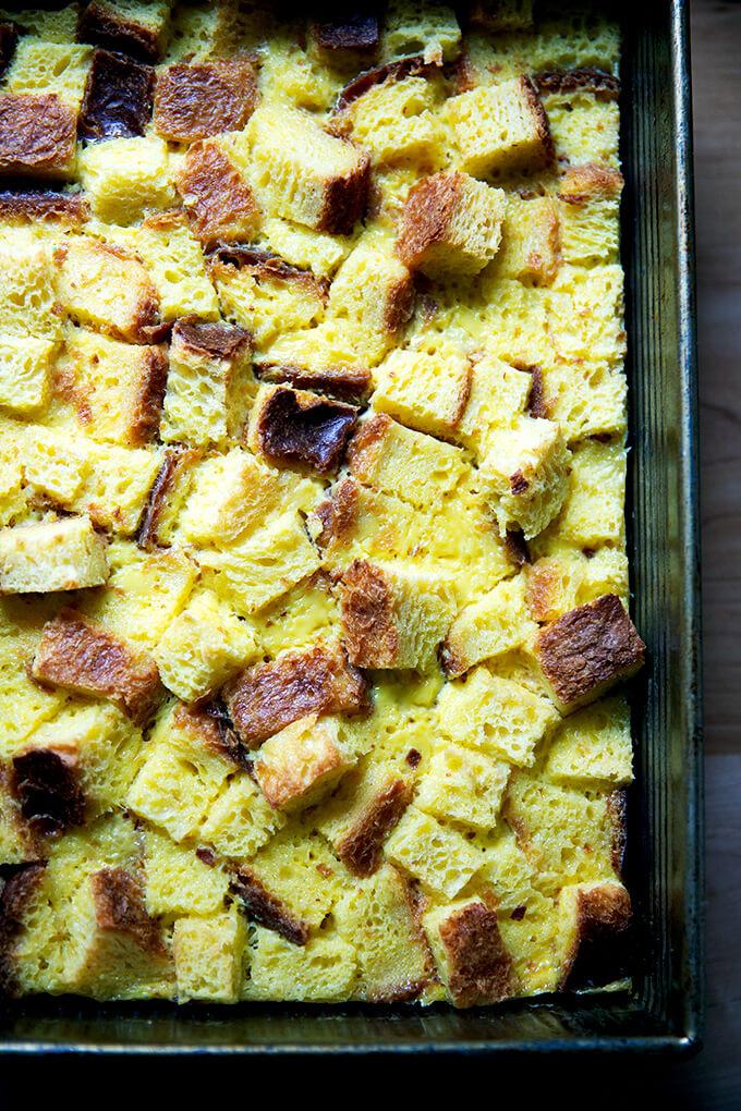 Baked brioche bread pudding.