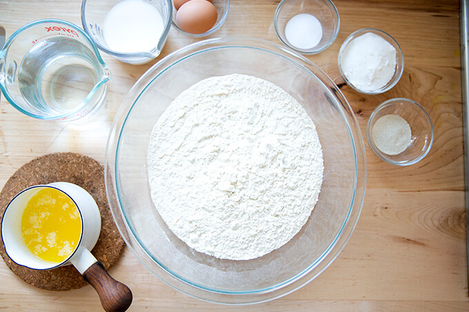 Ingredients to make brioche on a countertop.