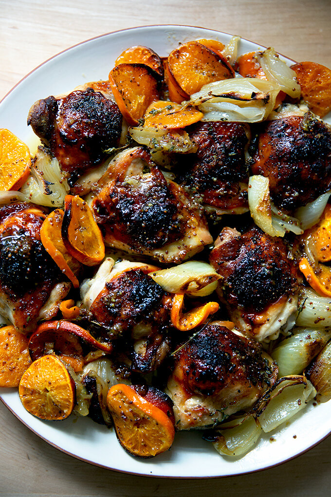 Roast chicken with clementines.