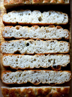 A crumb shot of freshly baked focaccia.
