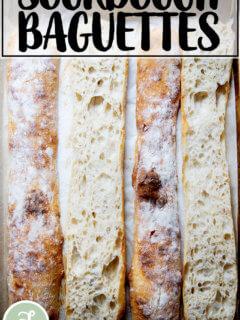 Halved sourdough ciabatta baguettes.