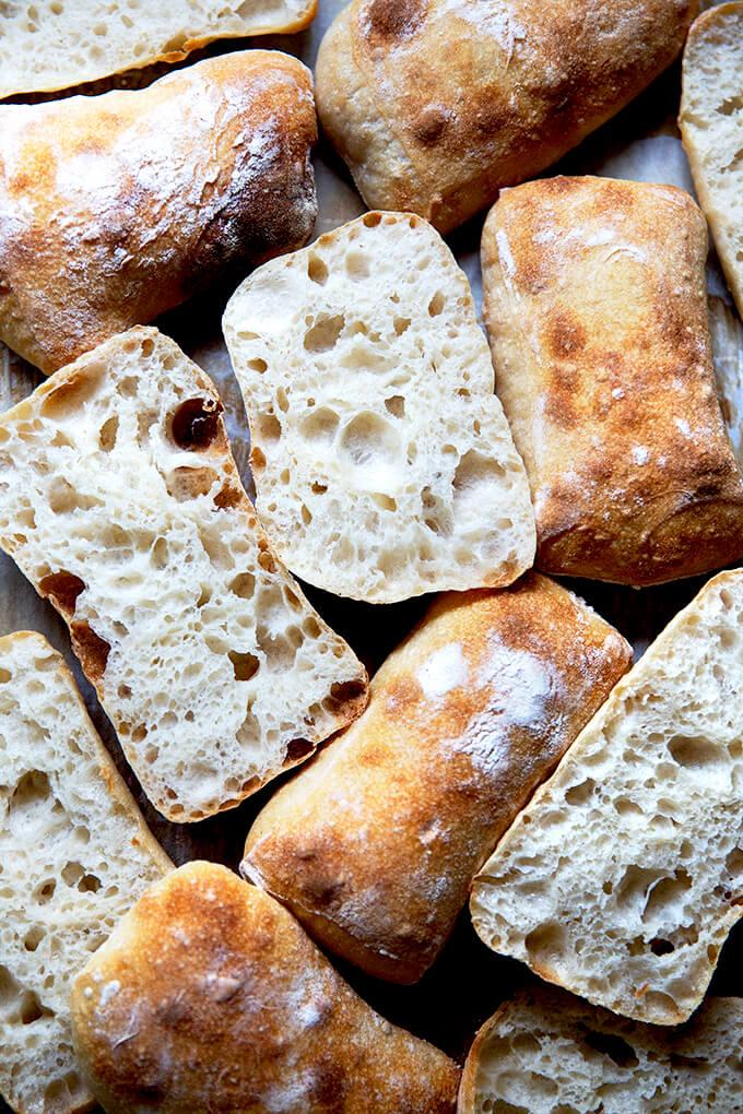 Halved sourdough ciabatta rolls.