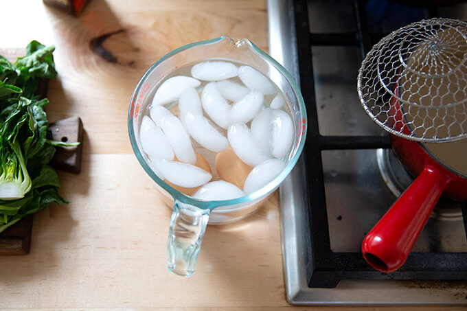 Eggs in an ice bath.