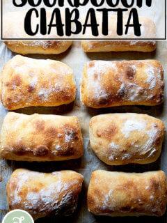 Just-baked sourdough ciabatta rolls.