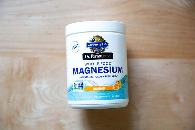 A tub of Garden of Life magnesium.