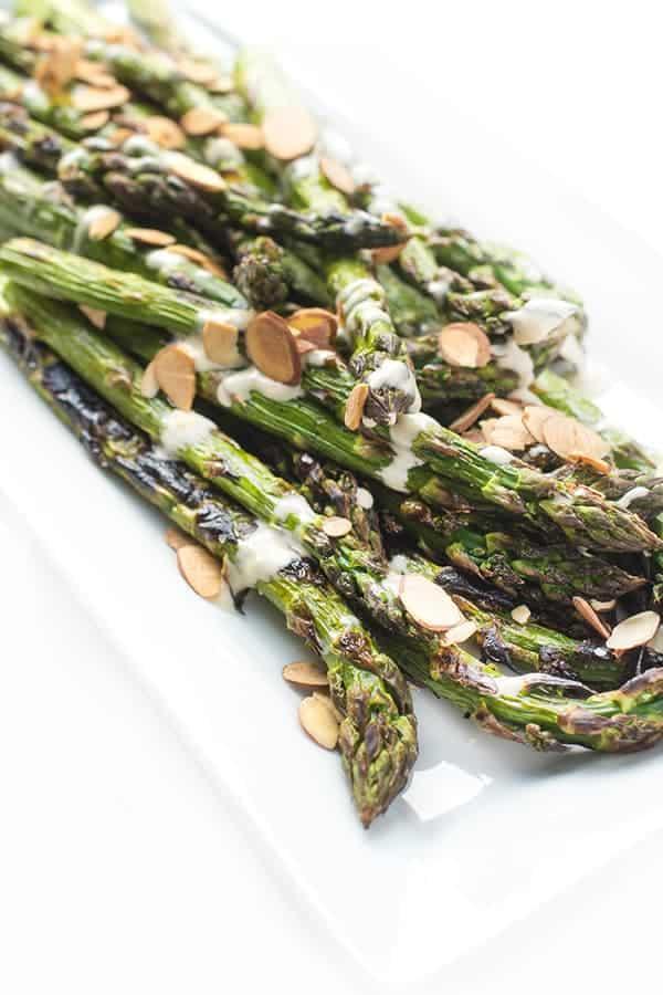 Grilled asparagus on a platter.