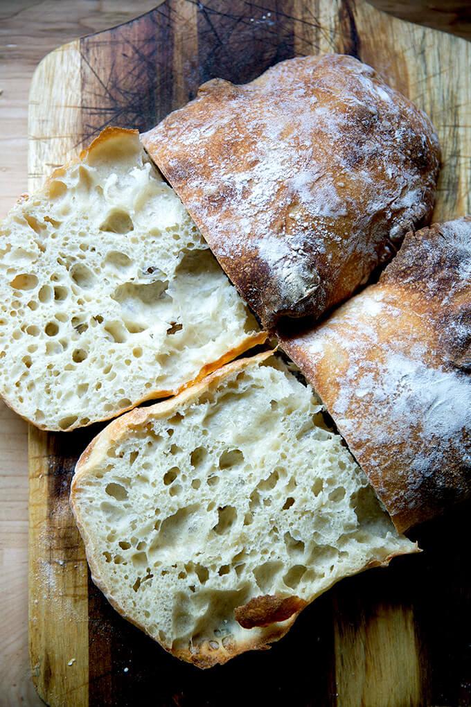 Halved ciabatta bread.