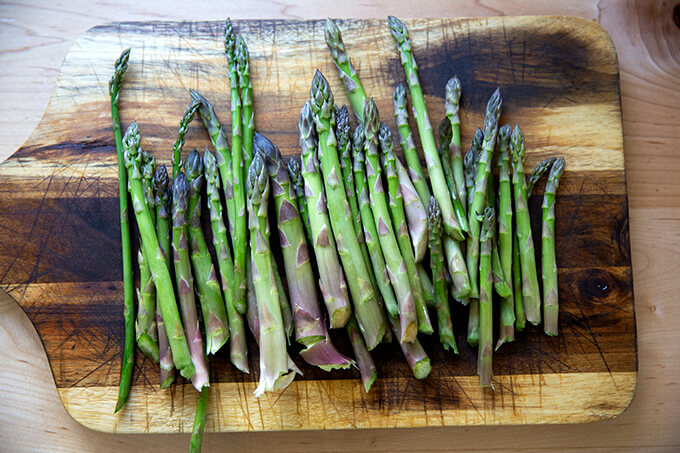 Asparagus on a board.