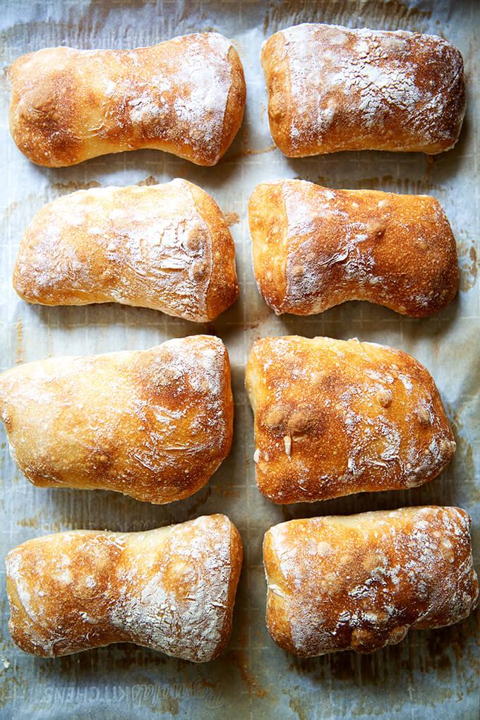 Just-baked ciabatta rolls on a sheet pan.