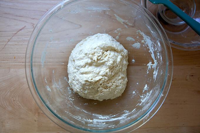 Mixed ciabatta dough in a bowl.