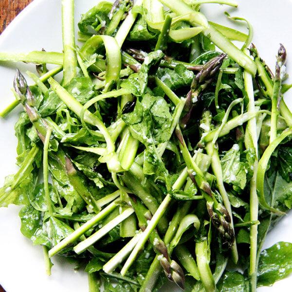 Raw asparagus salad.